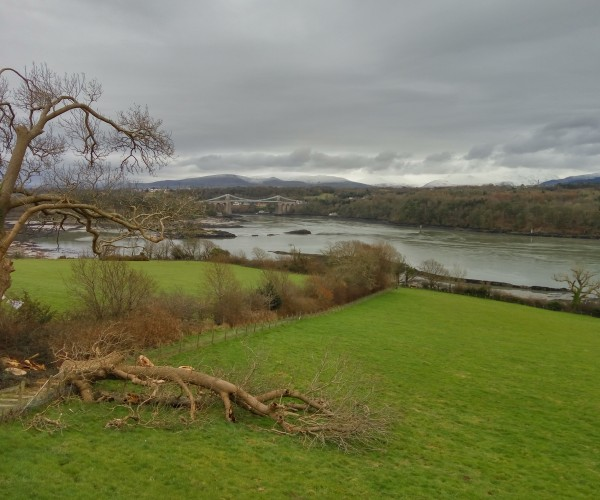 A view across the Meani Straights towards the Suspension Bridge and Snowdonia beyond