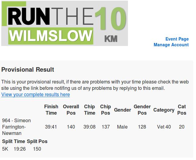 Wilmslow 10k result