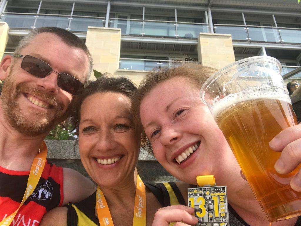 At the finish of Leeds Half Marathon